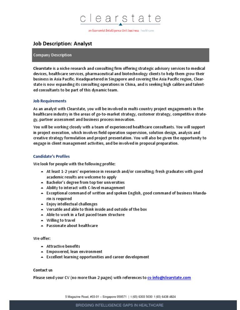 Resume CV Cover Letter benefits analyst job description benefits – Research Analyst Job Description