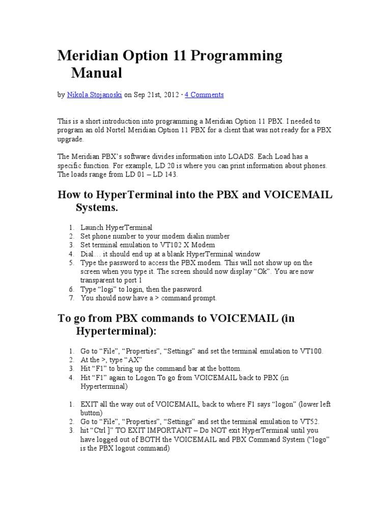 Meridian Option 11 Programming Manual - DocShare tips