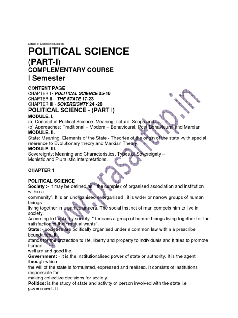 meaning and nature of political science