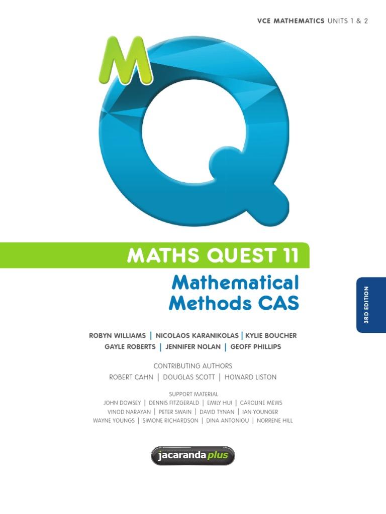 11 methods mathematical quest pdf maths