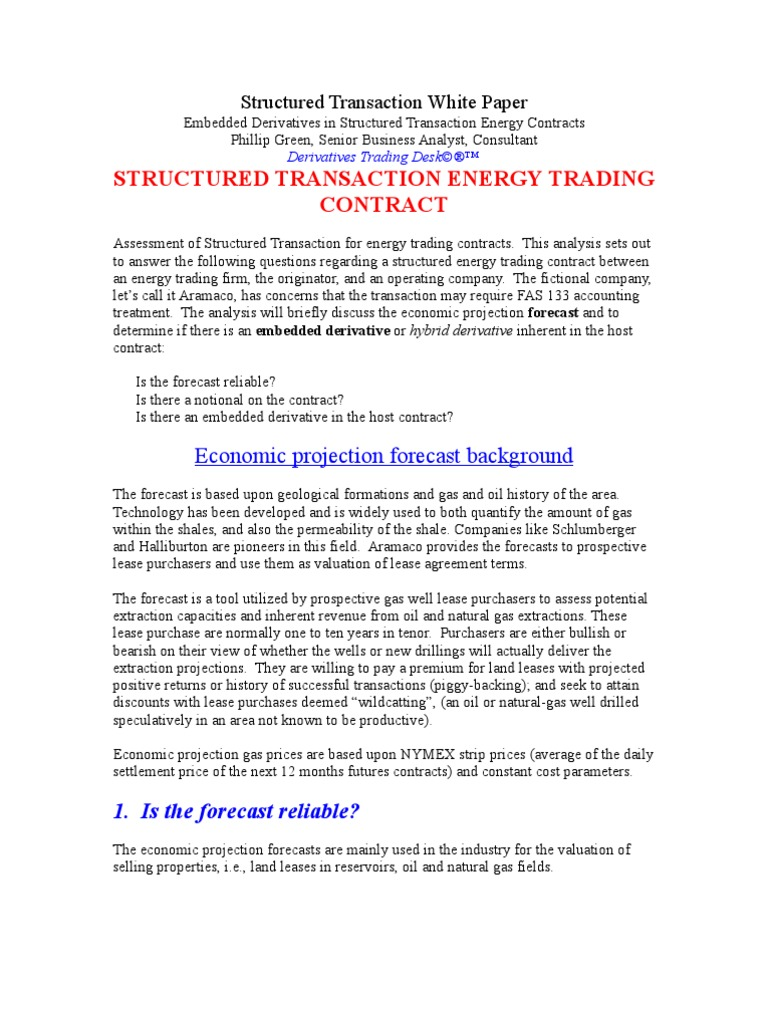 Structured Energy Trading Contract Fas 133 Accounting Treatment