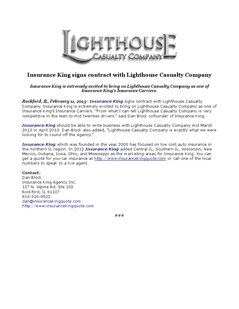 Insurance King Signs Contract With Lighthouse Casualty Company