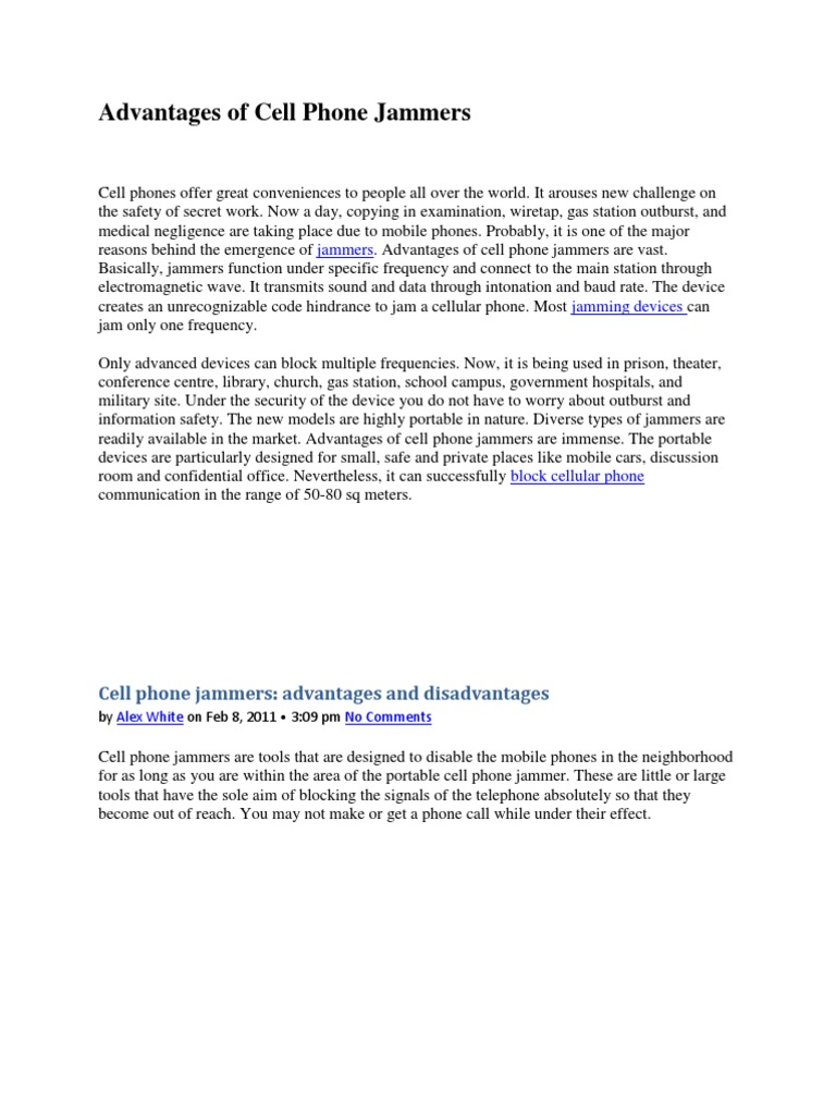 Advantages of Cell Phone Jammers docx - DocShare tips