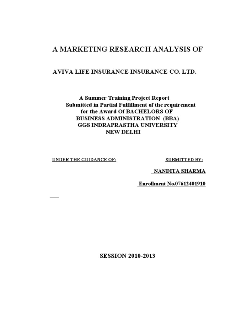 summer training project report of aviva life insurance