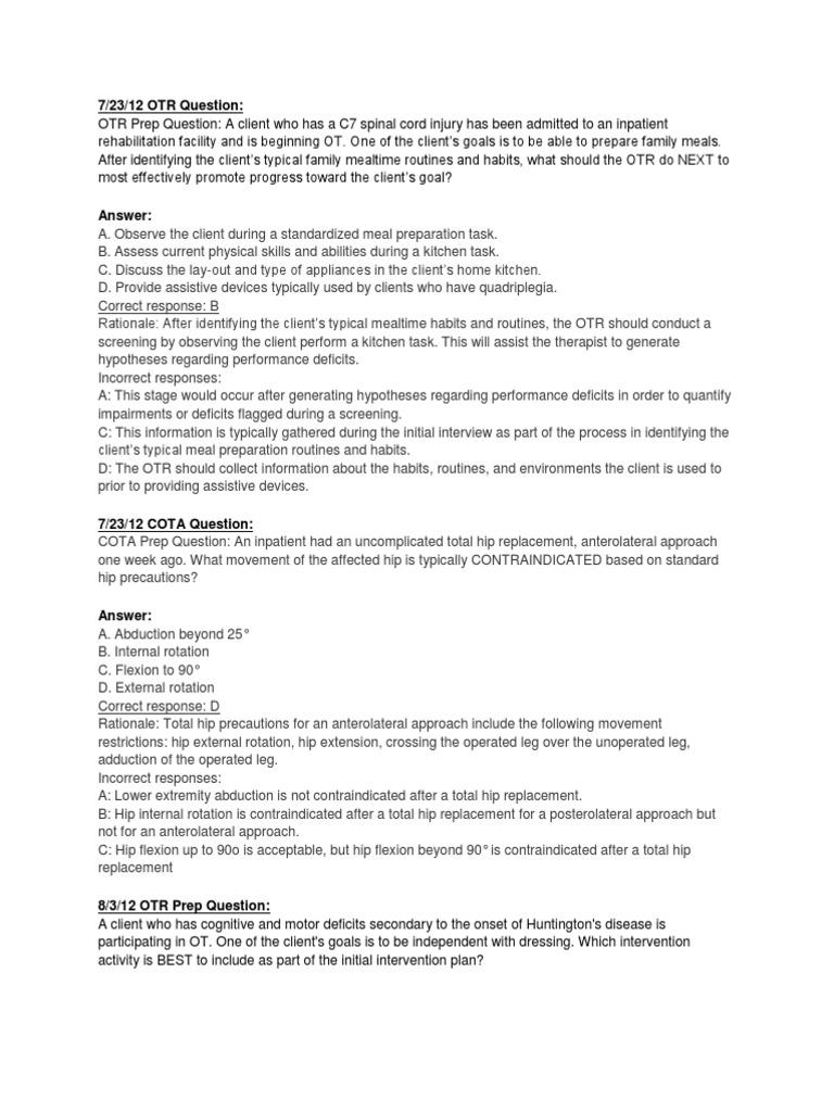 Nbcot Fb Prep Questions Docshare Tips
