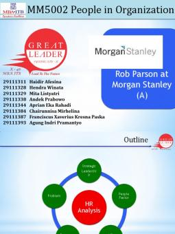rob parson at morgan stanley case analysis Morgan stanley case study essay essay on rob parson at morgan stanley paul nasr, a senior md in capital market services at morgan stanley.