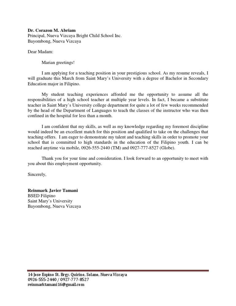 Application Letters For Teachers In The Philippines College Paper