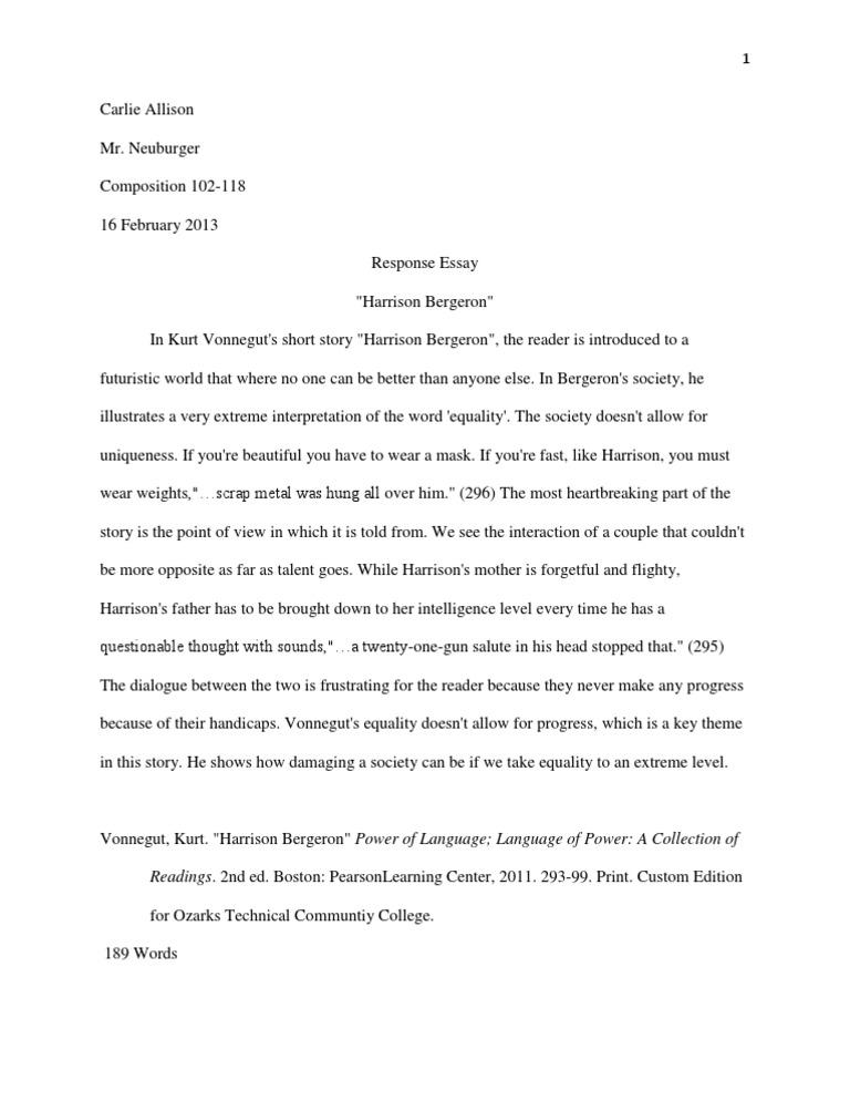 Harrison bergeron response essay docshare tips