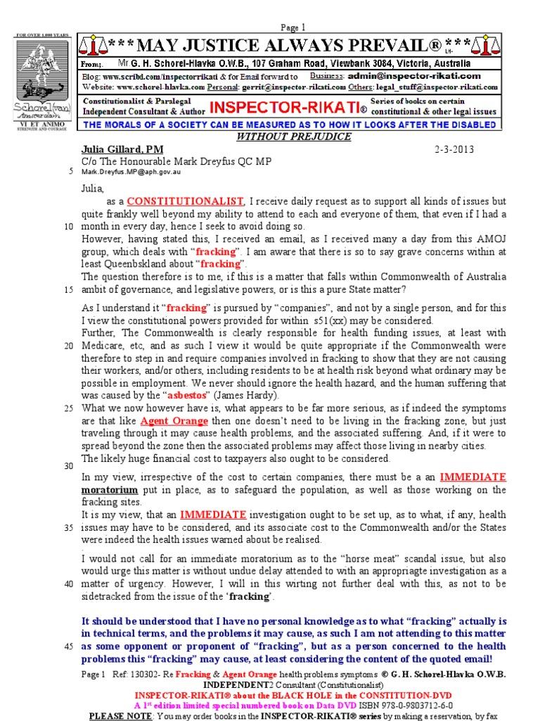structured interview assessment of symptoms and concerns 130302 mr g h schorel hlavka o w b to julia gillard re fracking agent orange health problems symptoms