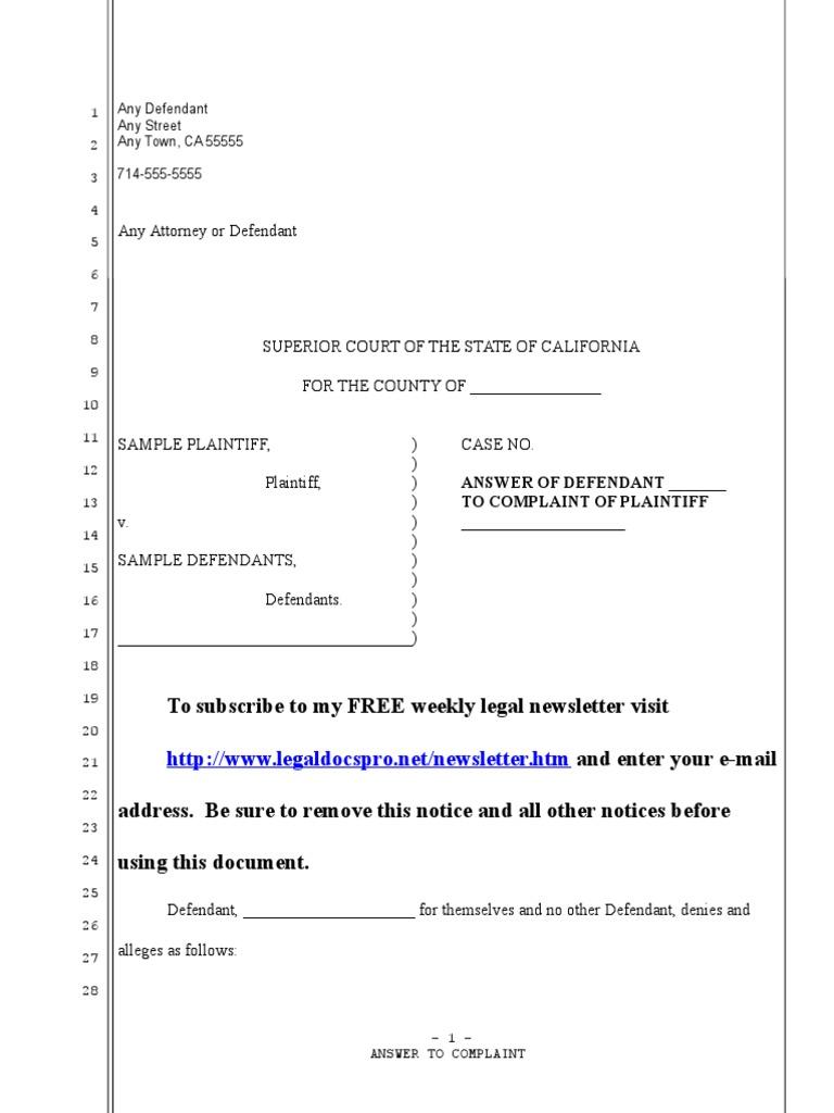 Download Sample Complaint for Fraudulent Transfer in California ...