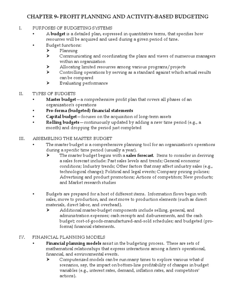 Managerial Accounting Ch  9 Profit Planning and Activity-based