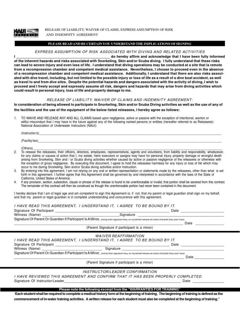 Naui Waiver And Release Form Docshare