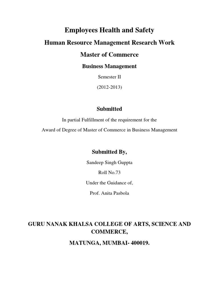 Download Human Resource Management Project Certificate - DocShare.tips