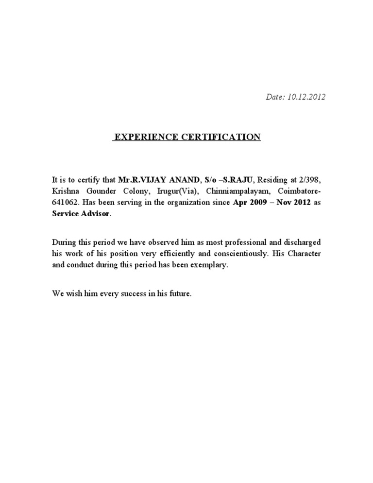 Download sample experience certificate format for school teacher experience certificate yelopaper Images