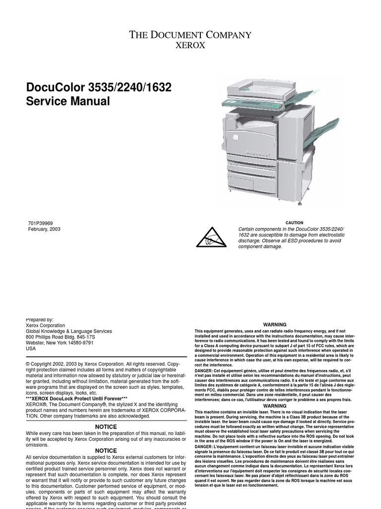 Xerox DC 3535 Service Manual - DocShare tips