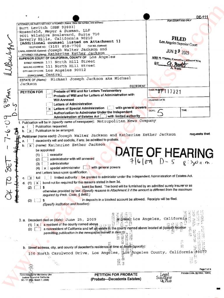 mrs jackson court petition probate