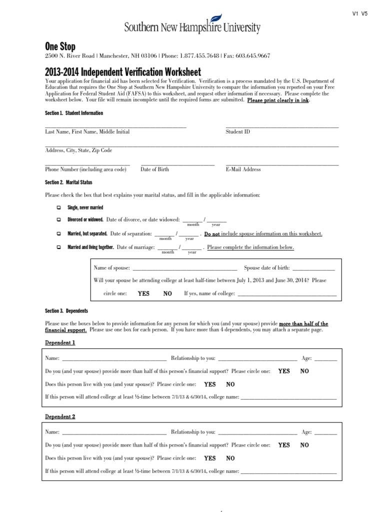 Worksheets Independent Verification Worksheet download cuny standard verification worksheet docshare tips 2013 2014 independent worksheet