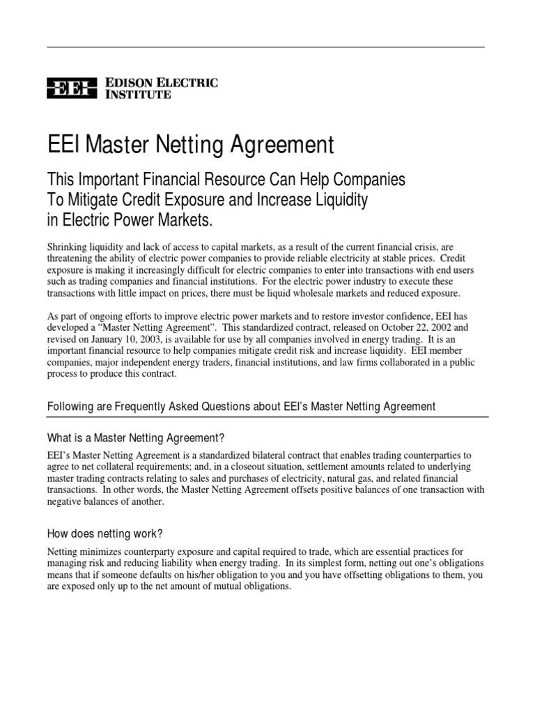 Eei Master Netting Agreement Faq Docshare