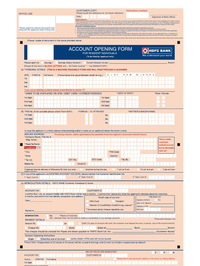 Download Saving Account Opening Form In Hdfc Bank For