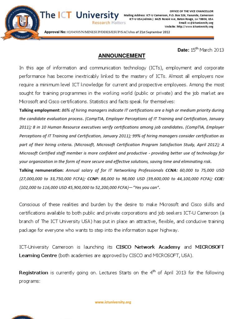 Ictu Cisco And Microsoft Certification Programannouncement