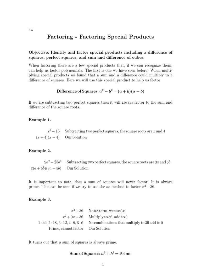 Math_teachers_guide_1 Special Products And Factors Zygosity Genetics