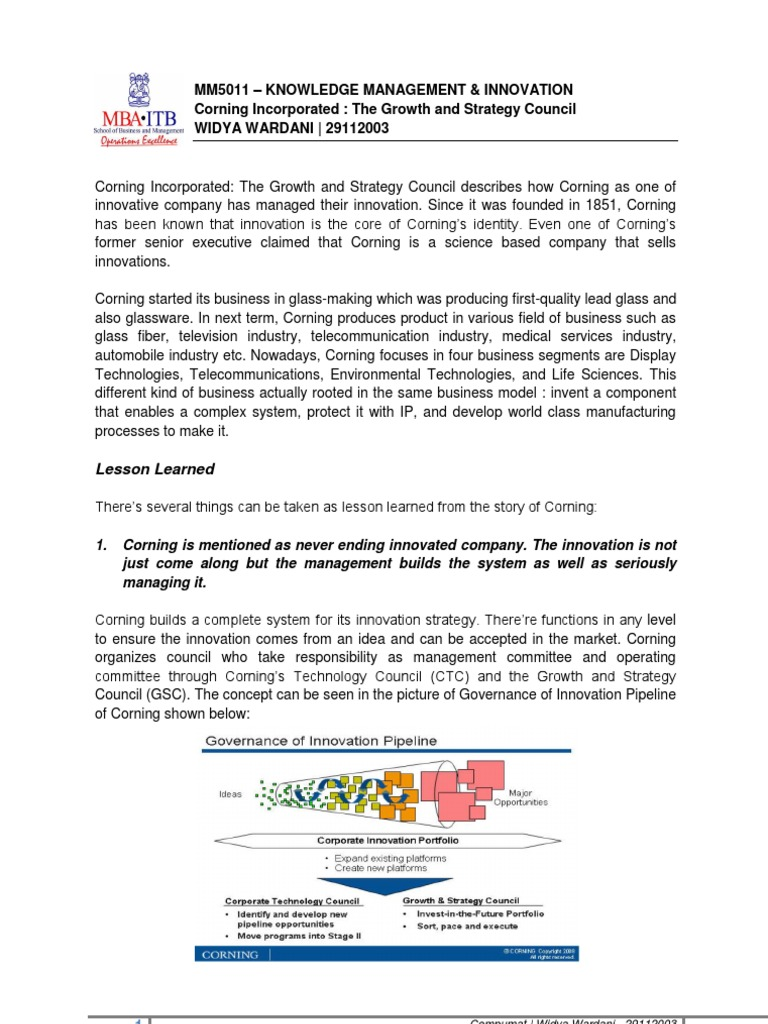 corning incorporated the growth and strategy council Corning incorporated brand covers the brand analysis in terms of swot, stp and competition along with the above analysis, segmentation, target group and positioning the tagline, slogan & usp are covered.