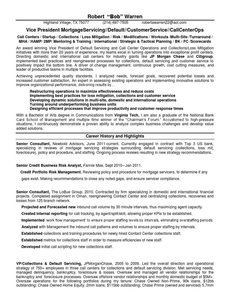 vp mortgage default servicing in dallas tx resume robert