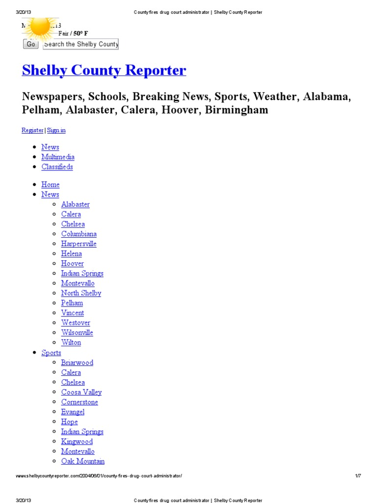 Alabama shelby county saginaw - County Fires Drug Court Administrator _ Shelby County Reporter