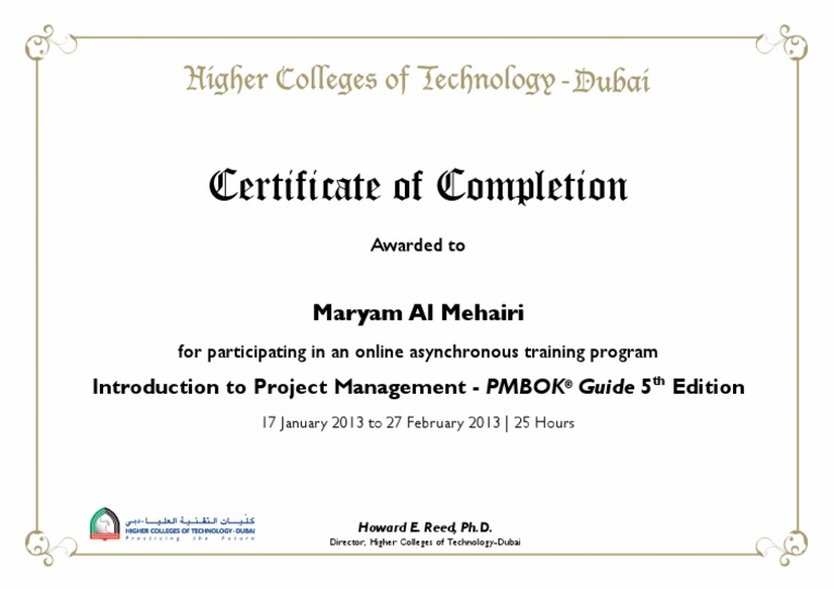 Project Management Certificate Sample Docshare