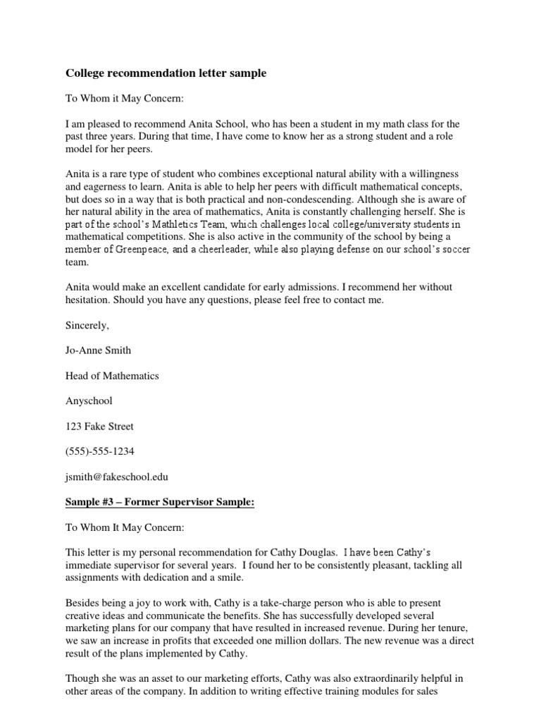 Download Sample Recommendation Letter Student Docshare