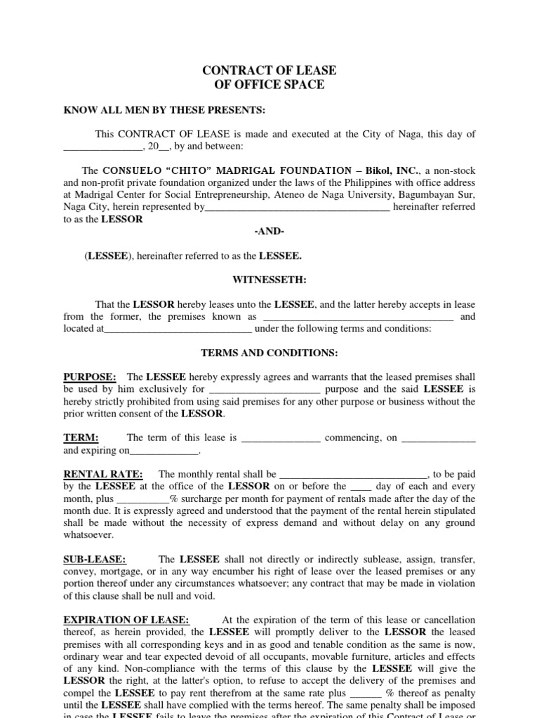 contract of lease  office space  sample