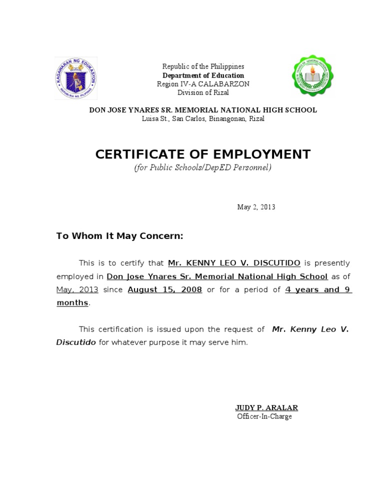 Download certificate of employment private nurse docshare certificate of employment yadclub Choice Image