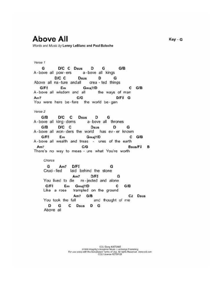 Download Above All Piano Chords - DocShare.tips