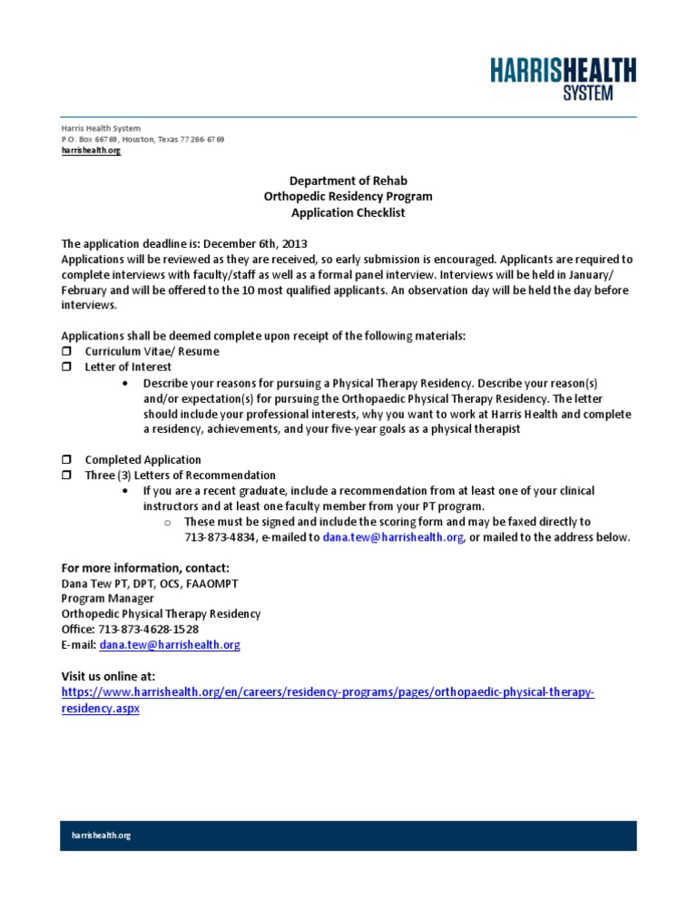orthopaedic physical therapy applicant checklist docsharetips