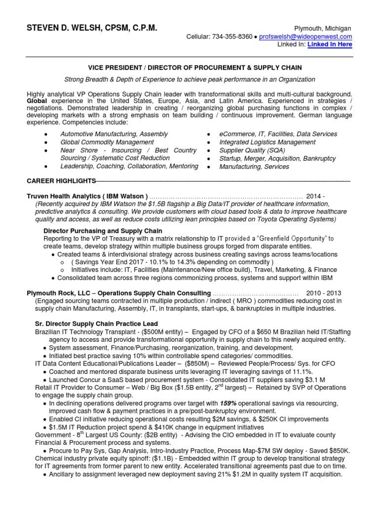 Resume Vp Procurement Supply Chain Detroit Mi Information