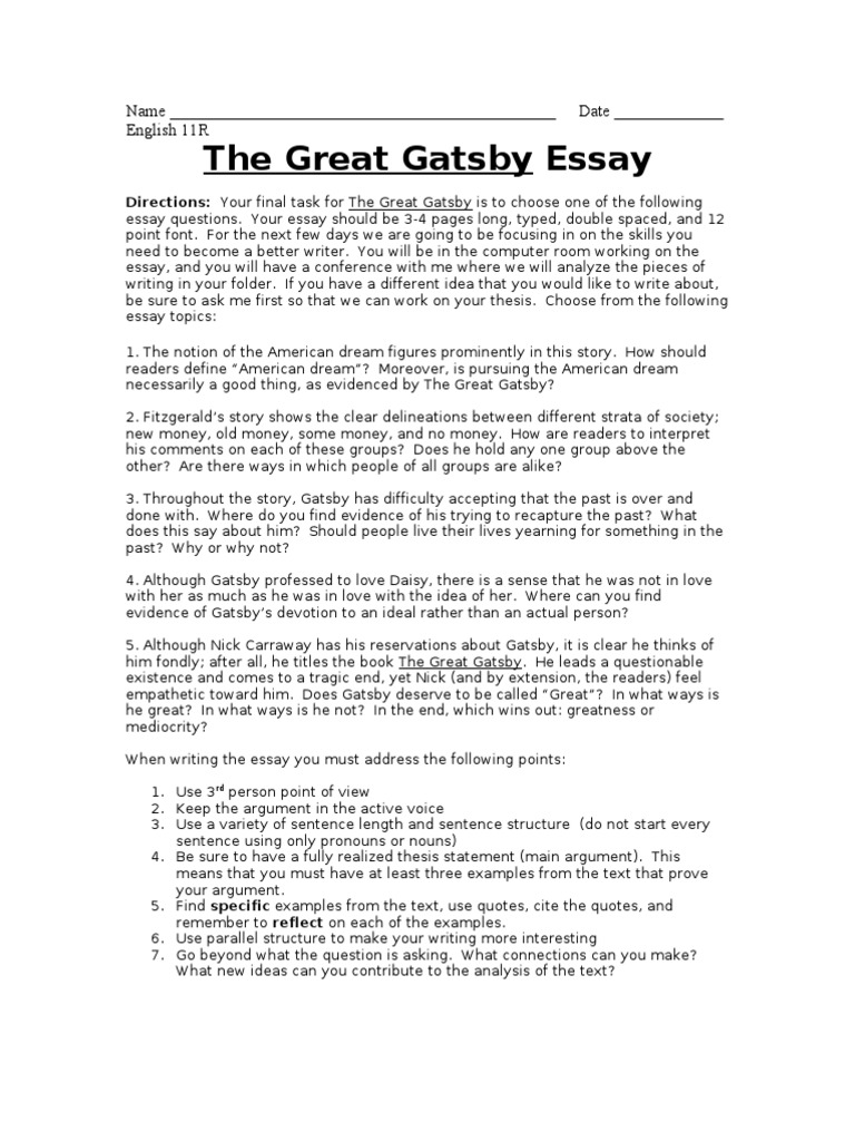 Download the great gatsby essay prompts docshare tips