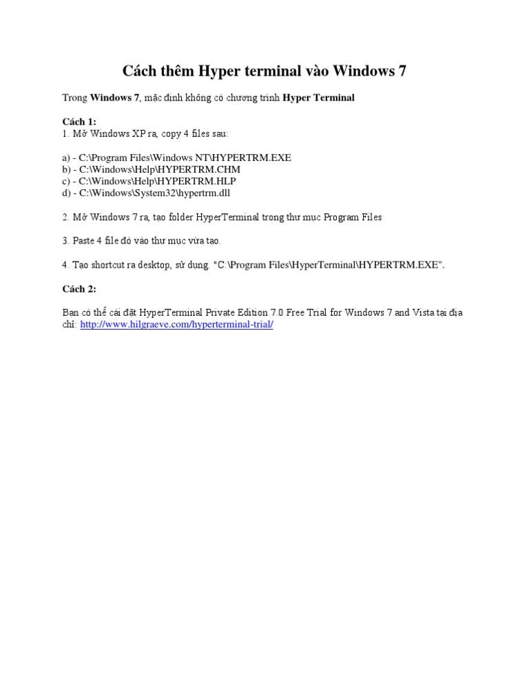 Cách thêm Hyper terminal vào Windows 7 - DocShare tips