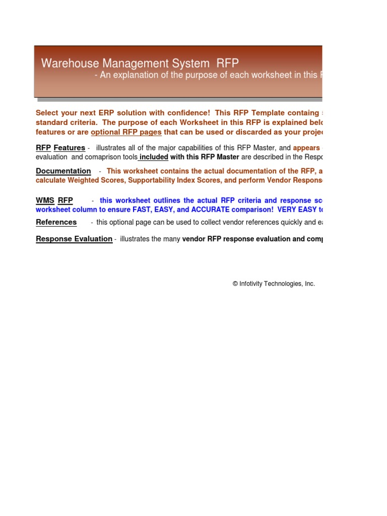 Download Discrete Repetitive Manufacturing ERP Software System RFP