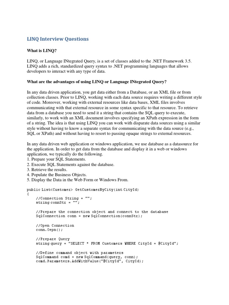 Download Linq Examples Docshare