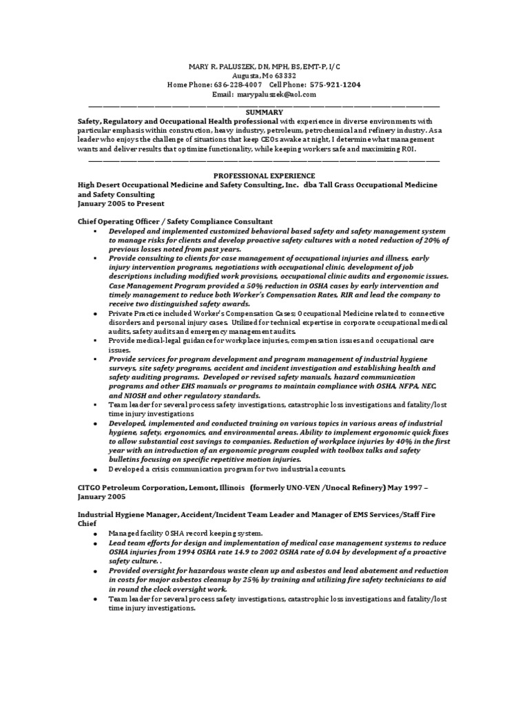 Download VP EHS Chief Sustainability Officer In St Louis MO Resume ...