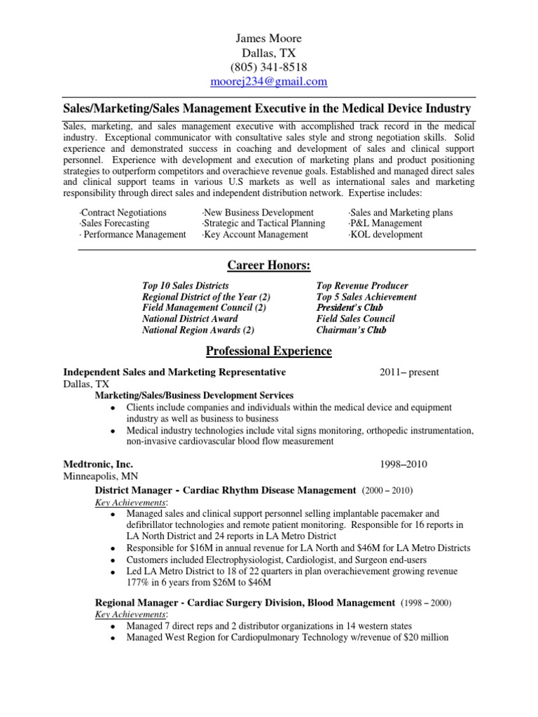Regional Sales Manager Medical Devices in Dallas Ft Worth TX Resume