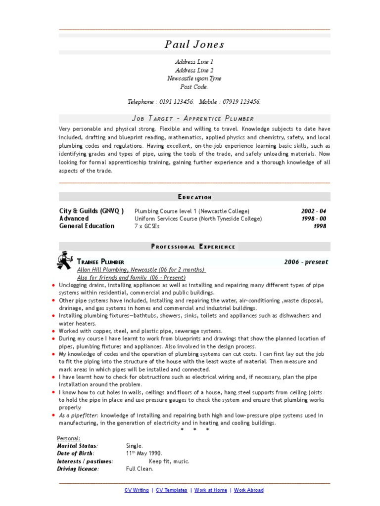 download apprentice plumber cv or resume docshare tips