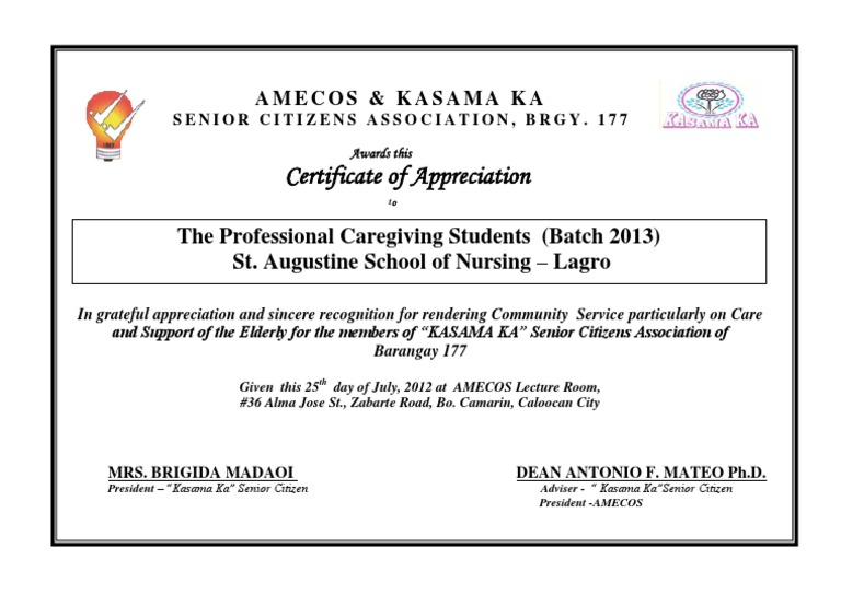 Certificate of appreciation a4 st augustine school of nursing 2012 certificate of appreciation a4 st augustine school of nursing 2012 docshare yadclub Image collections