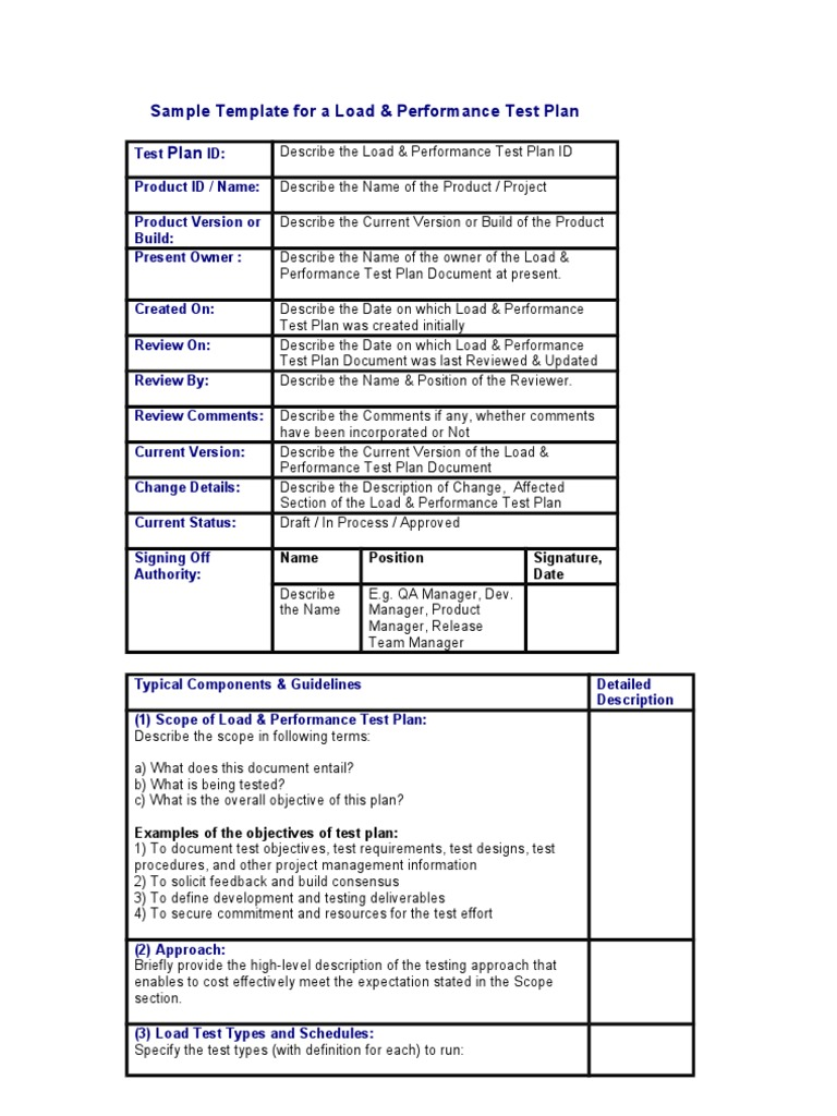 Template For A Load Performance Test Plan Docshare