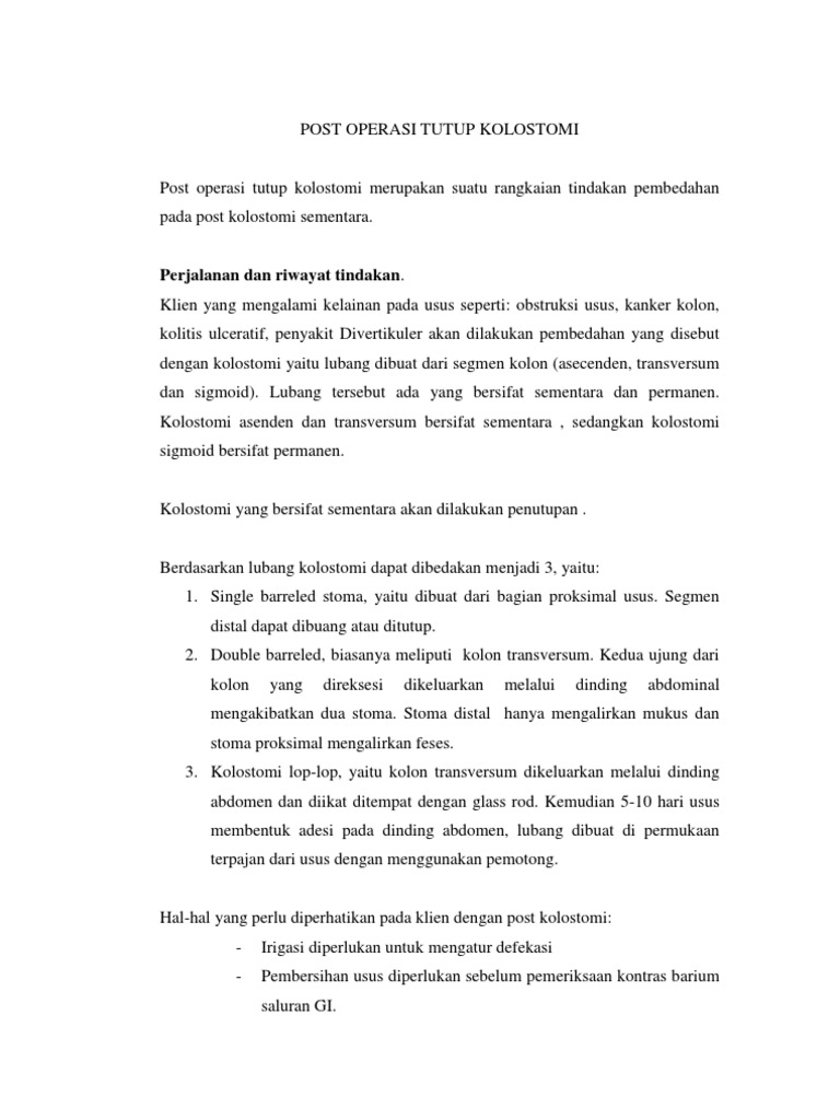 Download Contoh Askep Colostomi Docshare Tips