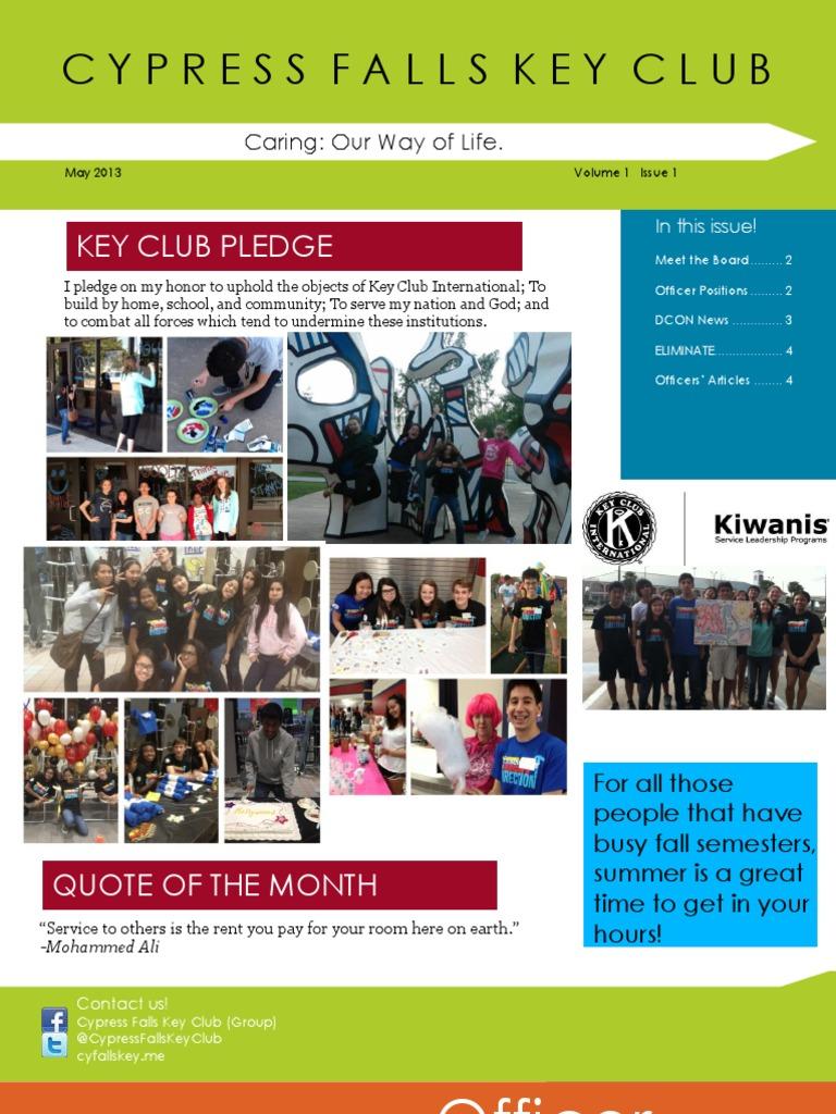 Cypress Falls Key Club May Newsletter
