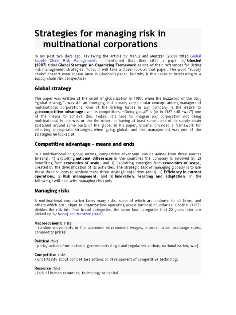 strategic accounting issues in multinational corporations The case of a newly implemented modern management accounting system in a multinational manufacturing company abstract contemporary management accounting techniques (such as tqm, bsc, jit) are widely lauded by academia.