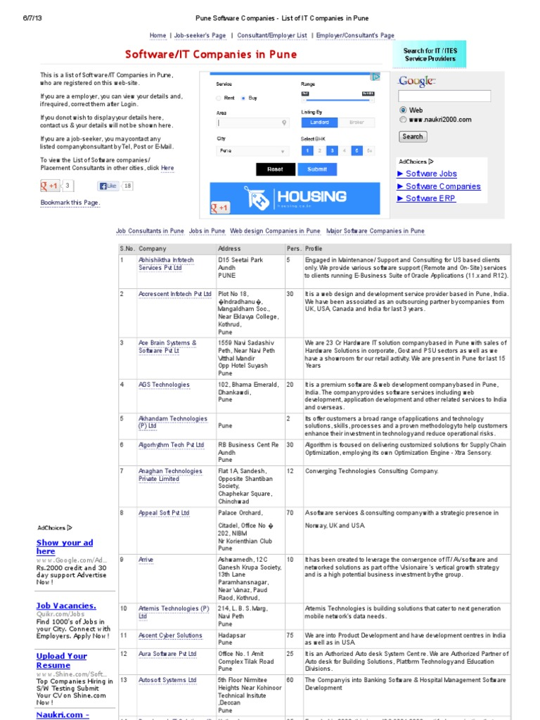 Pune Software Companies - List of IT Companies in Pune - DocShare tips