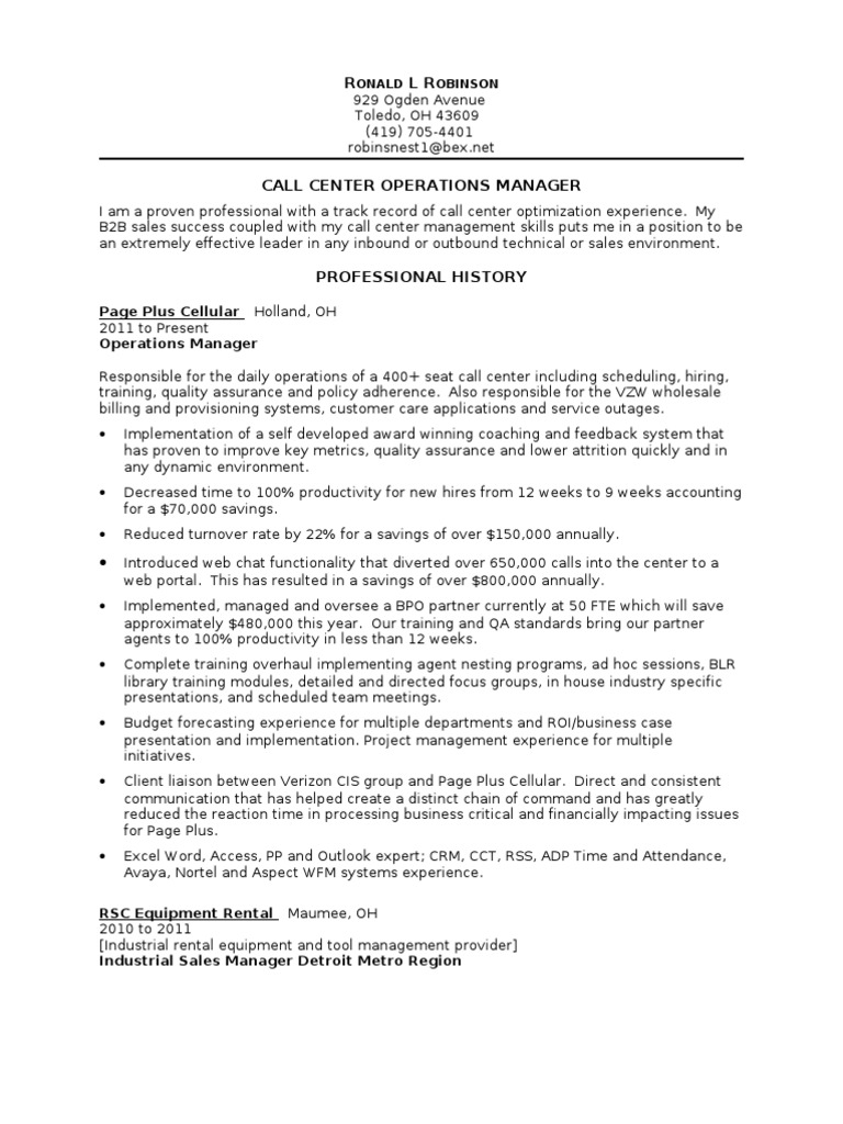 Download Senior Call Center Manager in St Louis MO Resume Sandy ...