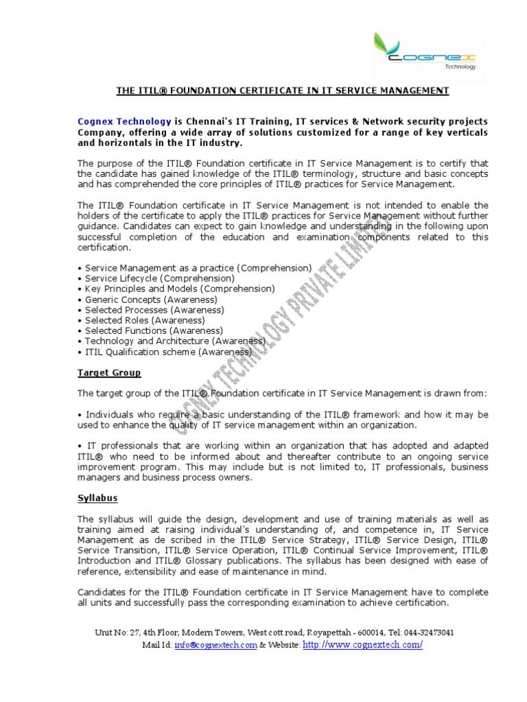 Itil V3 Foundation Course Contentpdf Docshare